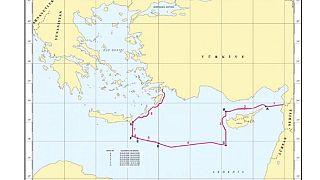 Doğu Akdeniz'de yeni ruhsat başvurusu yapılan sahaların yerini gösteren harita