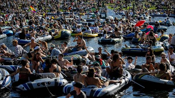 Boat party on the Landwehr Canal in Berlin.