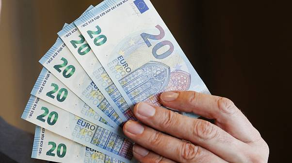 New 20 Euro bank notes are displayed in Frankfurt, Germany, 2015.