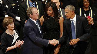 Former President Barack Obama and former President George W. Bush