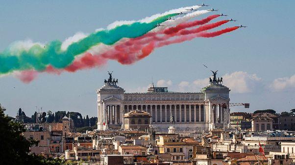 The Frecce Tricolori aerobatic squad of the Italian Air Force fly over Rome