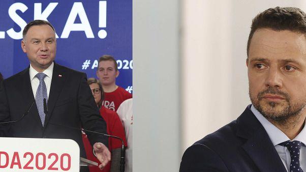 Poland's President Andrzej Duda (L), Warsaw Mayor Rafal Trzaskowski (R)