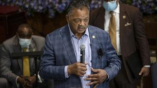 The Rev. Jesse L. Jackson speaks at Greater Friendship Missionary Baptist Church, Thursday, May 28, 2020, in Minneapolis.