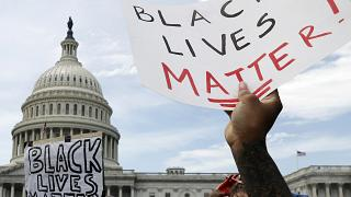 Demonstrators protest the death of George Floyd as they gather Wednesday, June 3, 2020, on the East side of the U.S. Capitol in Washington.