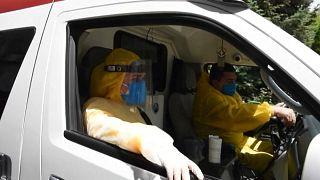 Medics in ambulance car (Erevan, Armenia, June 2, 2020)