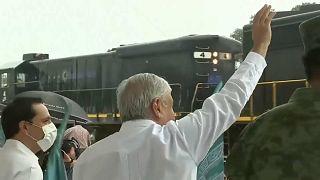 El presidente mexicano, López Obrador, inaugura las obras del Tren Maya