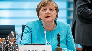 German Chancellor Angela Merkel looks on at the start of the weekly cabinet meeting on June 3, 2020