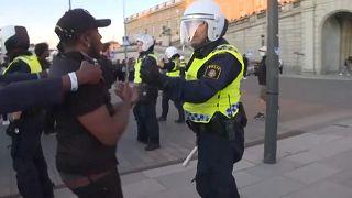 Szene der Demonstration in Stockholm