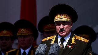 Belarus President Alexander Lukashenko at a military parade to mark the 75th anniversary of the Soviet Union's victory over Nazi Germany in World War Two, Minsk, May 9, 2020.