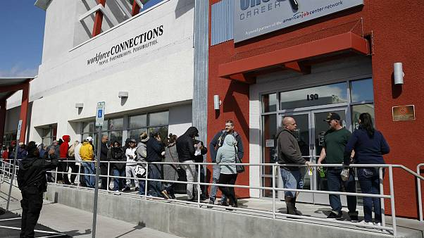 People wait in line for help with unemployment benefits, Las Vegas
