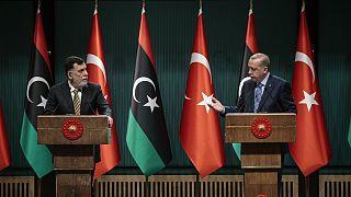 Cumhurbaşkanı Recep Tayyip Erdoğan ile Libya Başbakanı Fayiz es-Serrac