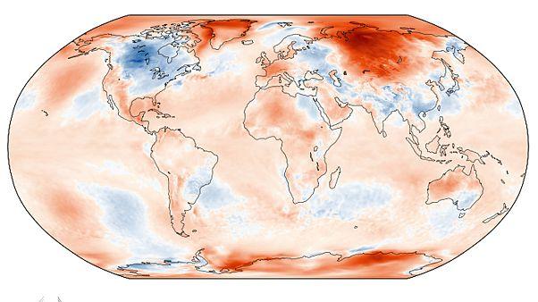 Anomalía de temperaturas en mayo de 2020, en rojo, temperaturas más cálidas que la media, en azul, más frías.