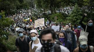 ABD'nin New York kentindeki Carl Schurz Park'ında ırkçılık karşıtı gösteri