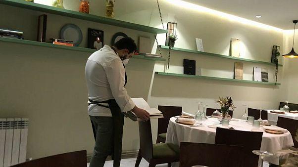 "Chef Roberto Terradillos inside his empty restaurant, ""Terra"", in Palencia, Spain."