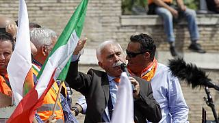 Leader of the Orange Vests movement, Antonio Pappalardo, addresses a rally in Rome, Tuesday, June 2, 2020