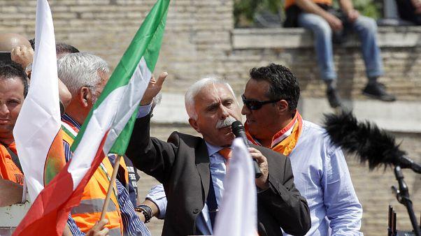 Leader of the Orange Vests movement, Antonio Pappalardo, addresses a rally in Rome, Tuesday, June 2, 2020