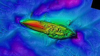 Multibeam image of the upside-down hull of SMS 'Grosser Kurfurst'