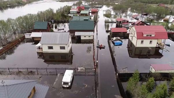 Inundaciones en la región rusa de Múrsmank