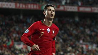 Portugal's Cristiano Ronaldo during the Euro 2020 group B qualifying soccer match between Portugal and Lithuania Nov. 14, 2019.