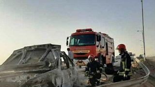 آتش گرفتن خودروی حامل مهاجران افغان