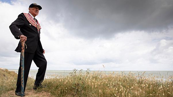 World War II D-Day veteran Charles Norman Shay from Maine, USA, overlooking Omaha Beach prior to a ceremony in Saint-Laurent-sur-Mer, Normandy, France, Friday, June 5, 2020.