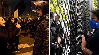 اعتراضات ژانویه ۲۰۲۰ ایران و اعتراضات ژوئن ۲۰۲۰ در ایالات متحده
