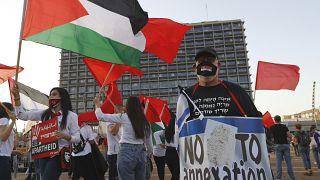 مظاهرات في تل أبيب ضد ضم أراض من الضفة