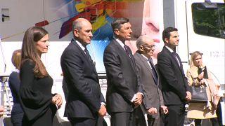 Janez Janša, Primer ministro de Eslovenia, Borut Pahor, Presidente, Janko Maček, vicepresidente de la asociación Nova Zaveza y Matej Tonin, Minister de Defensa