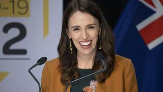 Jacinda Ardern smiles as she announces New Zealand will drop to COVID-19 alert level 1 at midnight. Wellington, New Zealand, June 8, 2020