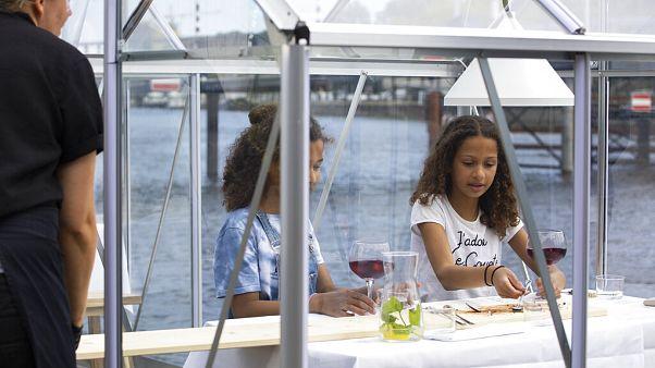 Egy amszterdami étterem biztonsági okokból üvegházakba ülteti vendégeit