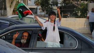 Residents of Tripoli celebrate the recent military setbacks of Khalifa Haftar's forces