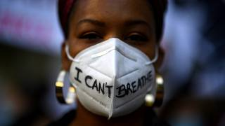 """""""I can't breathe"""" was said by George Floyd before his death after being in police custody."""