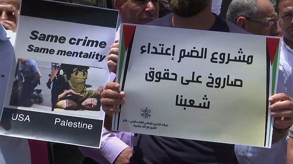 مظاهرات في رام الله احتجاجا على ضم أجزاء من الضفة الغربية والمستوطنات