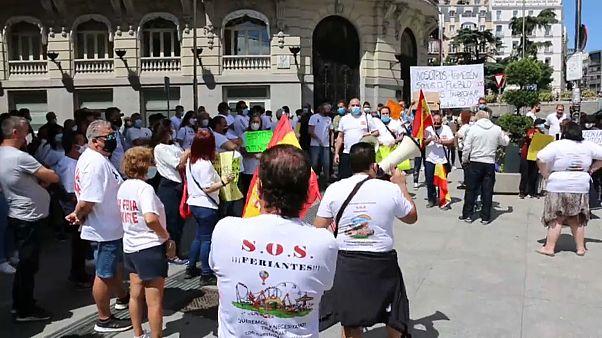 Manifestación de feriantes ante el Congreso de los Diputados en Madrid