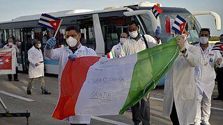 Regreso a Cuba de la brigada sanitaria de Lombardía