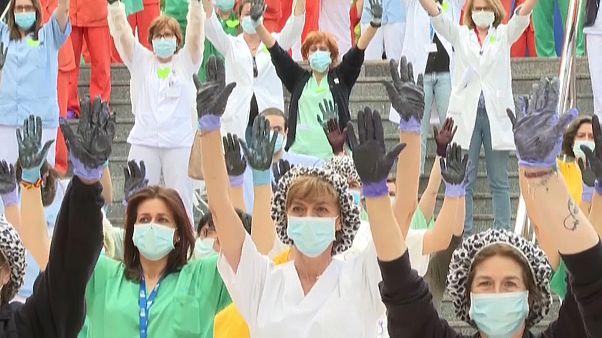 Protesta del personal sanitario en Madrid