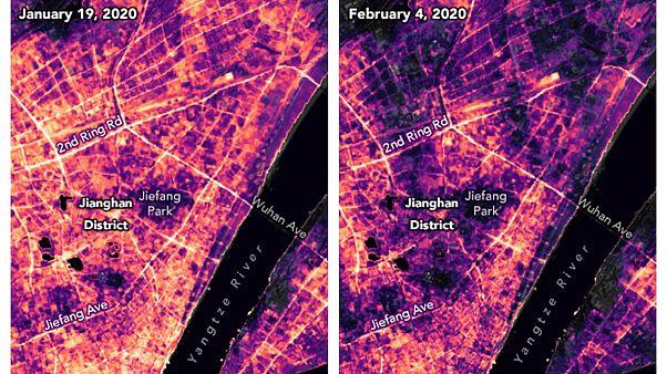 تصاویر ناسا از منطقهای در ووهان چین، در روزهای ۱۰ ژانویه و ۴ فوریه ۲۰۲۰، پیش و پس از قرنطینه