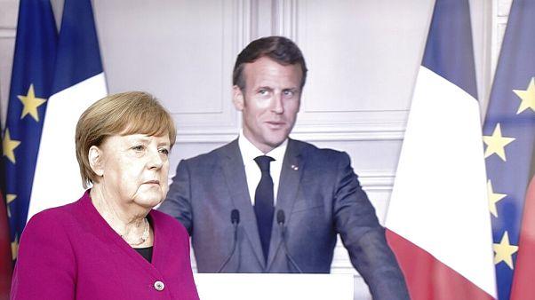 Imagen de una conferencia de prensa conjunta de Angela Merkel y Emmanuel Macron el pasado 18 de mayo