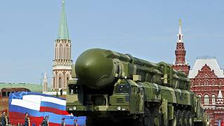 A Russian truck-mounted Topol intercontinental ballistic missile seen in Moscow's Red Square on May 9, 2008.