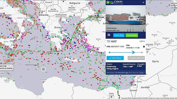 Το στίγμα του τουρκικού φορτηγού πλοίου, σύμφωνα με το MarineTraffic, to μεσημέρι της Τετάρτης