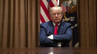 President Donald Trump listens during a roundtable discussion with African-American supporters in the Cabinet Room of the White House, Wednesday, June 10, 2020, in Washington.