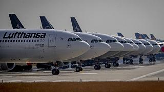 Lufthansa aircrafts are parked on a runway at the airport in Frankfurt, Germany, Wednesday, June 3, 2020.