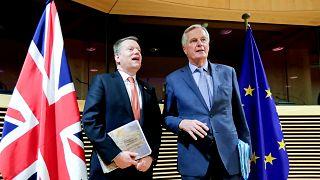 Michel Barnier, az EU főtárgyalója és David Frost, a britek főtárgyalója Brüsszelben, 2020. március 2-án