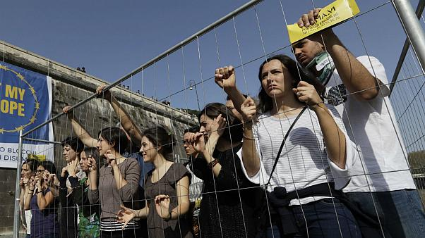 Protest against EU poletics on immigration ,Rome, Italy