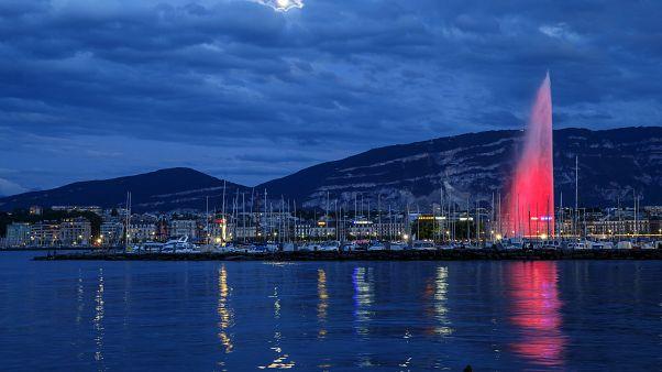 A Genfi-tó szökőkútja 2019 nyarán