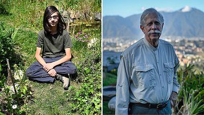 Teenage environmental campaigner Victor Noël and Venezuela's 80-year-old explorer Charles Brewer