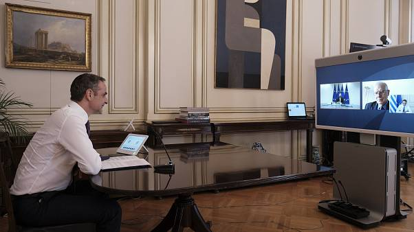 Greek PM Kyriakos Mitsotakis video conference with European Council President Charles Michel