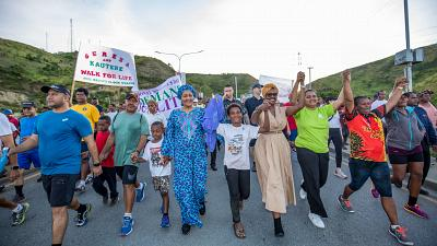 The International Women's Day 2020 Walk for Life with gender equality activists and local residents to demand action on gender-based violence in Port Moresby, Papua New Guinea