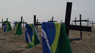 Homenagem às vítimas da Covid-19 em Copacabana