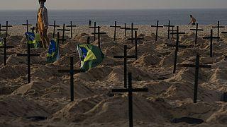 Protesto na Praia de Copacabana contra o que ativistas dizem ser o mau desempenho dos governos a lidar com a Covid-19